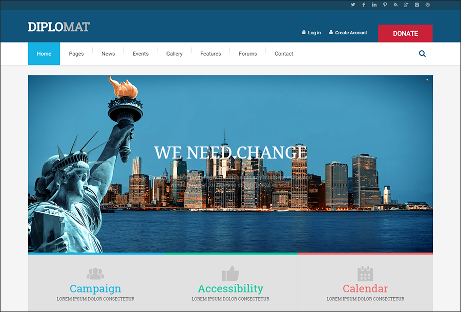 Political Party Websites WordPress Theme
