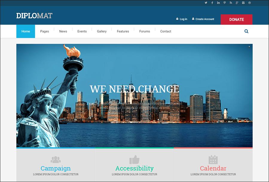Political Party Websites WordPress Theme