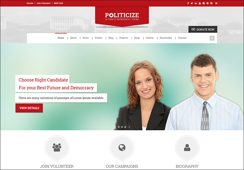 Political Responsive WP Theme