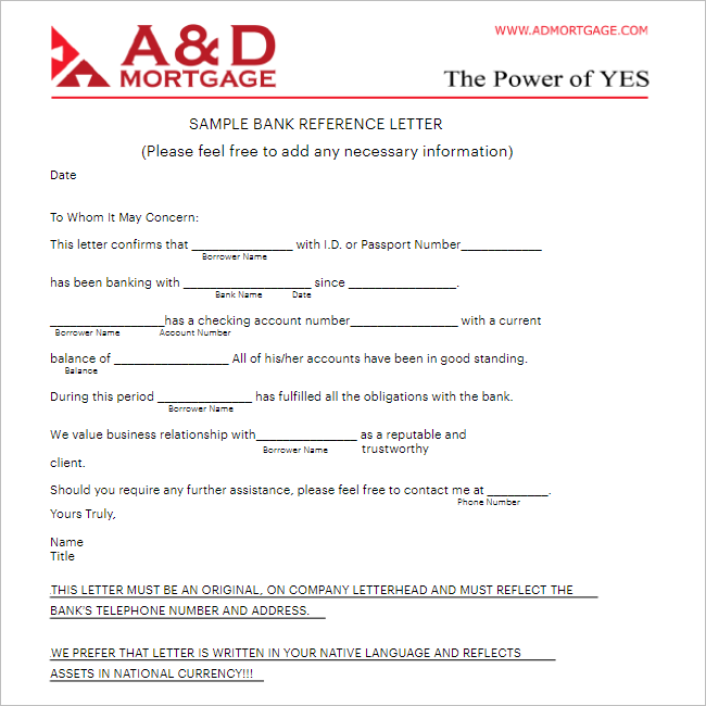 Printable Reference Letter Template
