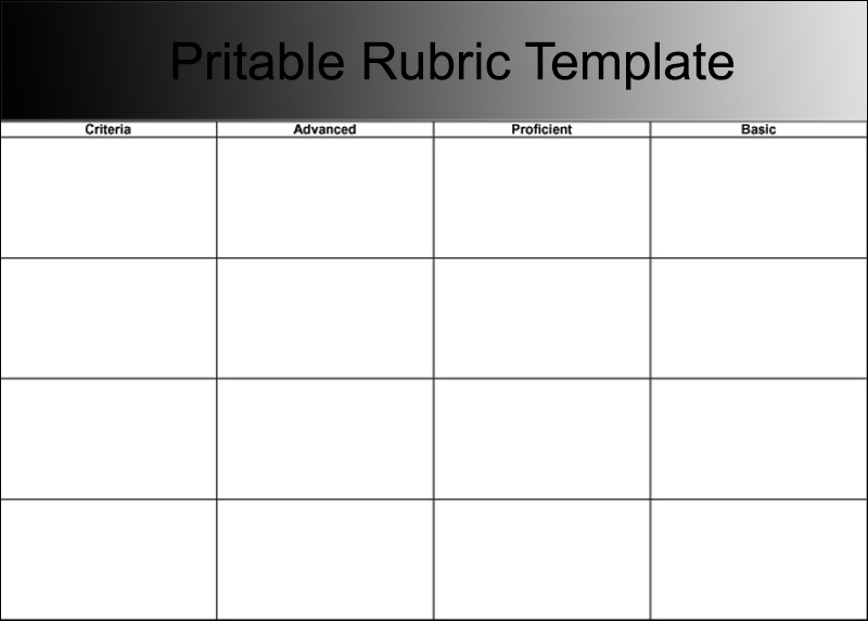 Pritable Rubric Template