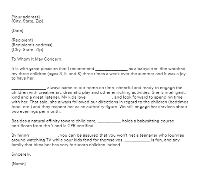 Child Care Reference Letter from www.creativetemplate.net