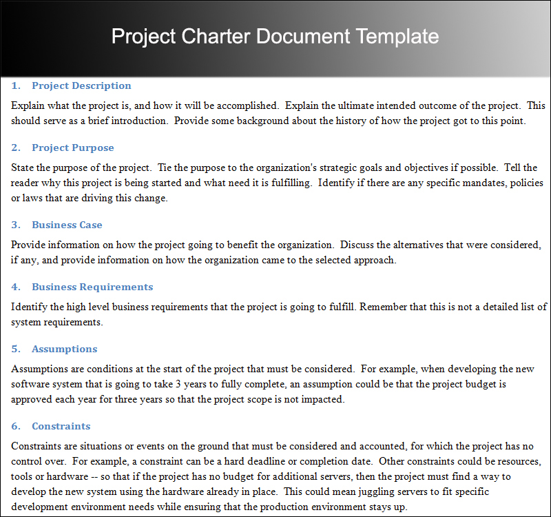 Project Charter Document Template