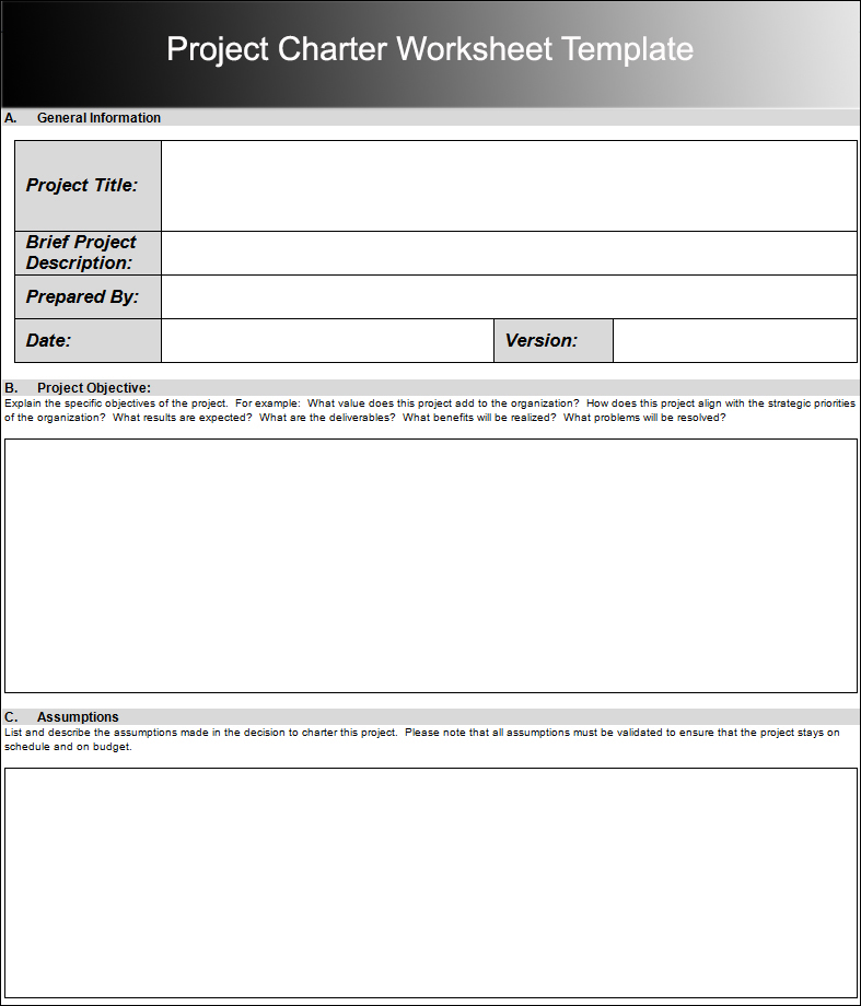 Project Charter Worksheet Template