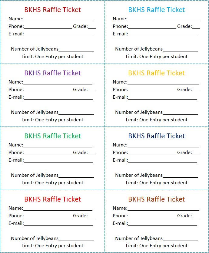 calendar raffle ticket templates