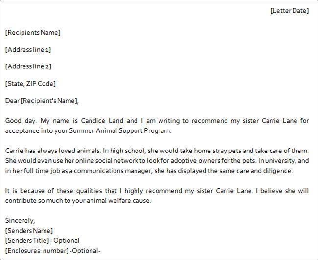 Recommending Letter For A Family Member