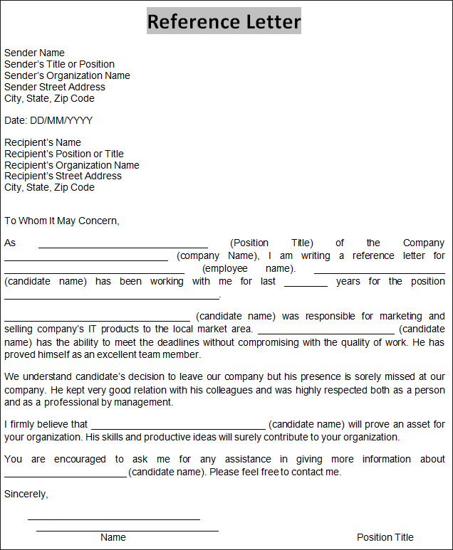 Reference Letter Sample Template