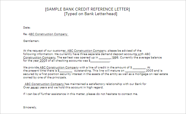 Reference Letter Template For Customer