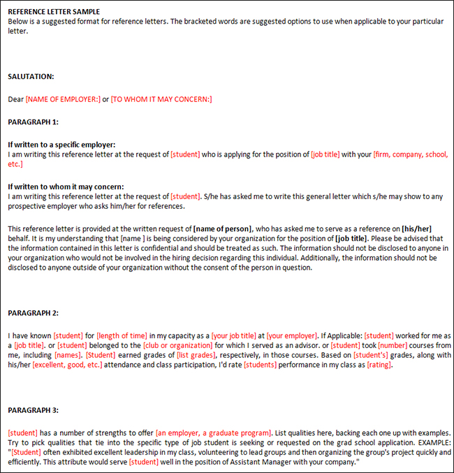 Reference Letters Template