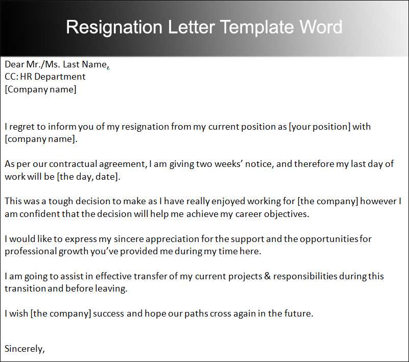 resignation letters templates word