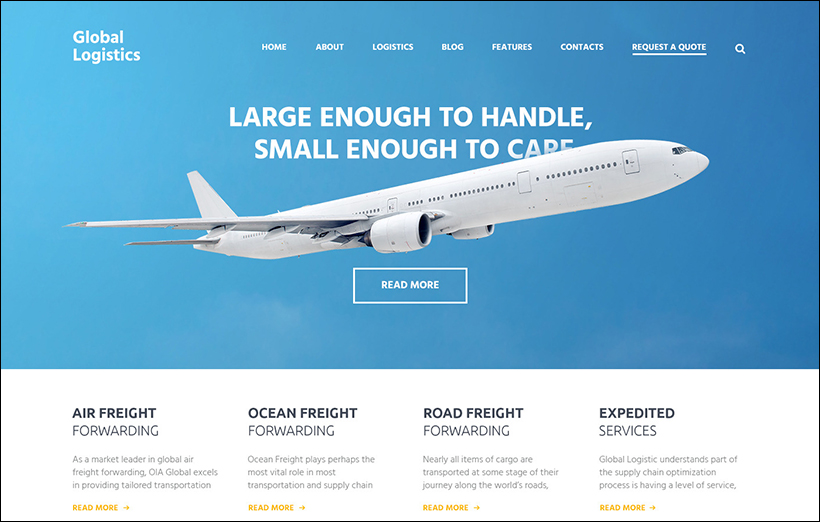 Responsive Logistics & Transportation WP Template