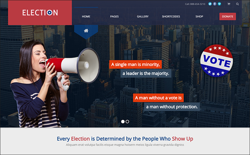 Responsive & Retina Ready Political WordPress Theme