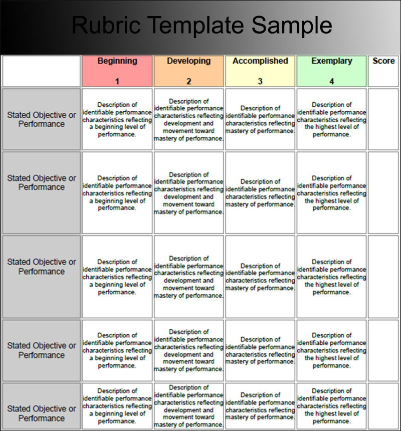 Rubric Template Sample