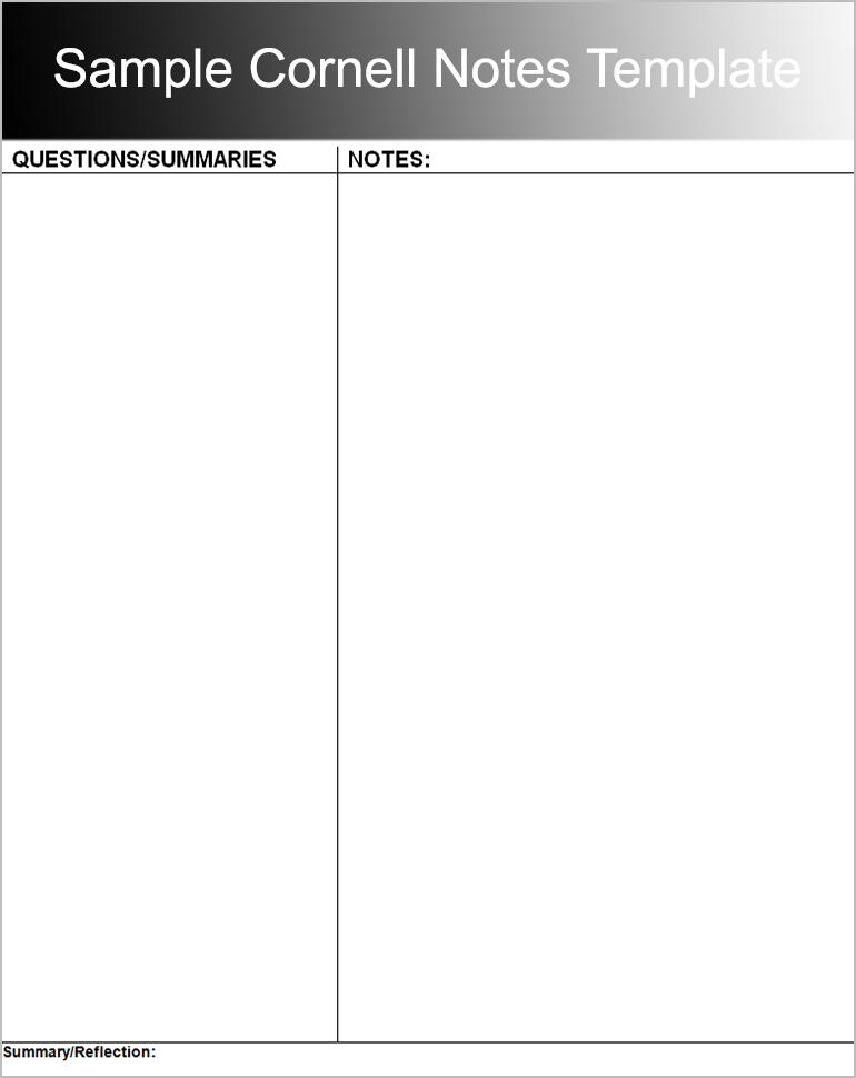 Printable Cornell Notes Templates Free Word Pdf Format