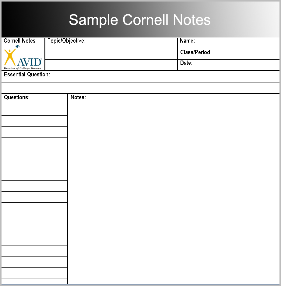Sample Cornell Notes
