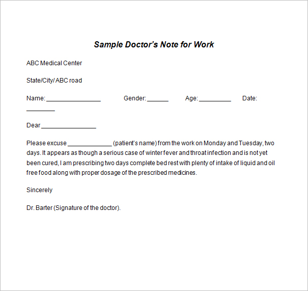Sample Doctor Note Templates