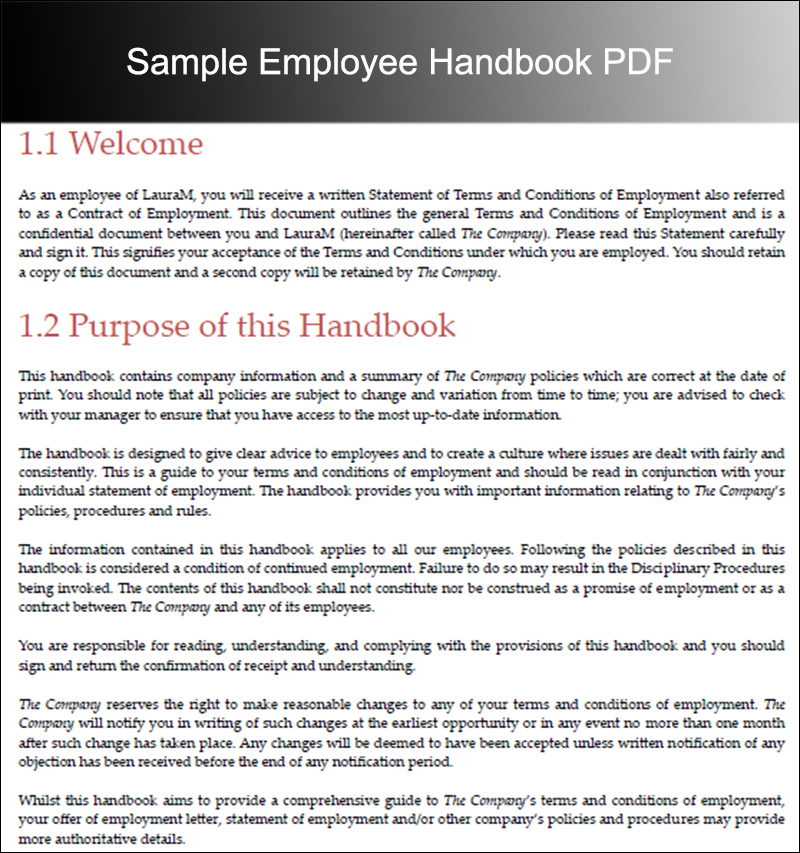 Employee Handbook Templates Free Word Document – Sample Employment
