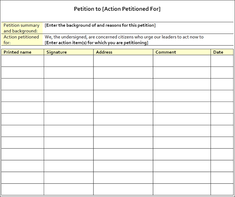 Petition Templates - Free Pdf, Word Documents Download | Creative