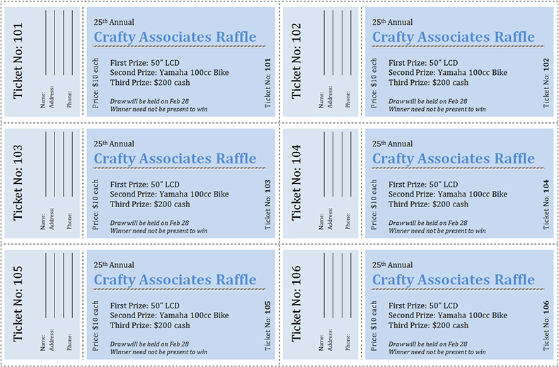 Sample Raffle Ticket Templates ...  Free Templates For Tickets