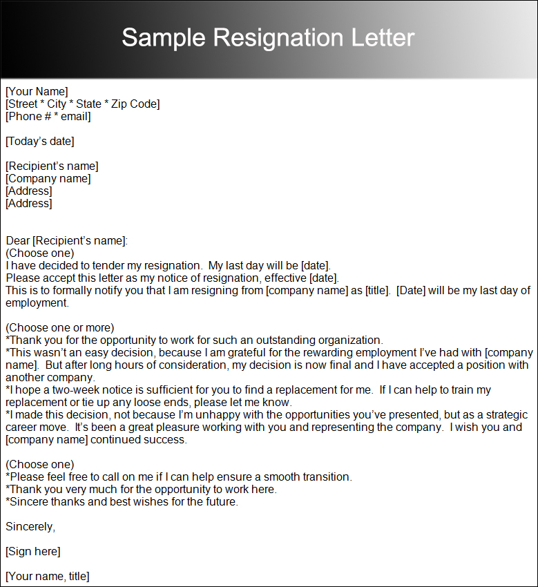 samples of resignation letters with notice