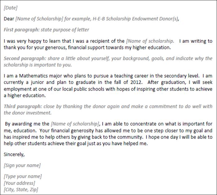 Sample Scholarship Thank You Letter