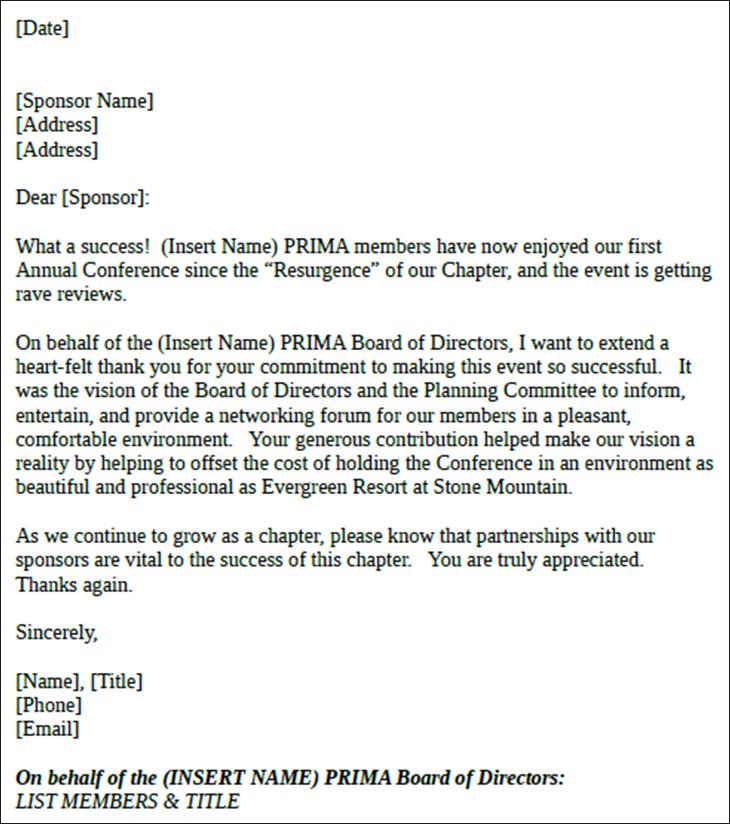 Sample Sponsor Thank You Letter