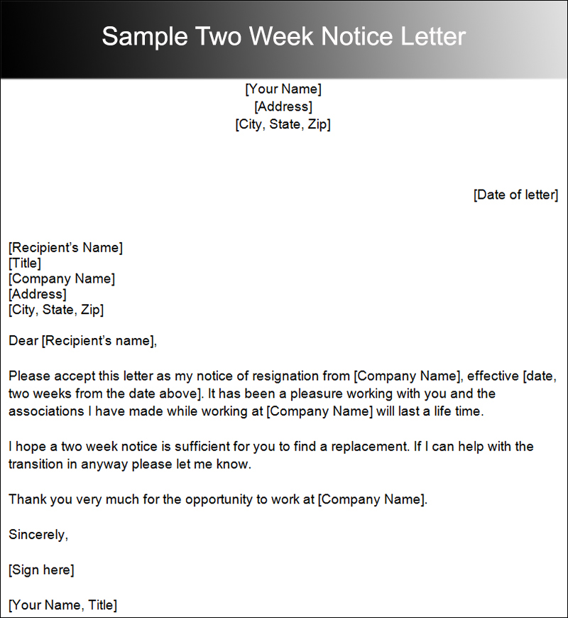 search results for sample of two weeks notice letter