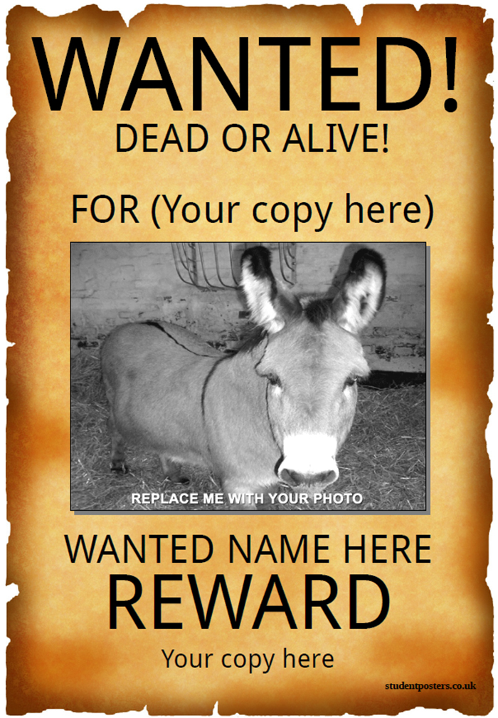 50 printable wanted poster templates free pdf psd designs for Free wanted poster template