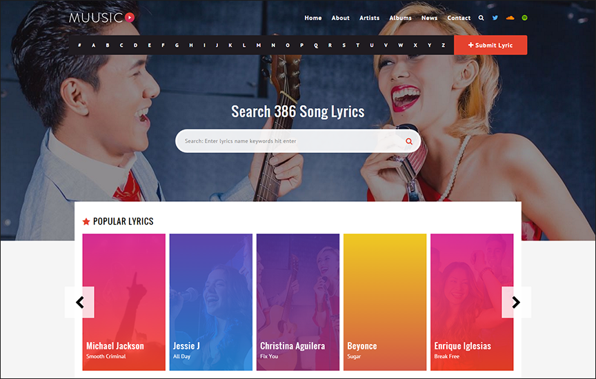 Song Lyrics WordPress Theme