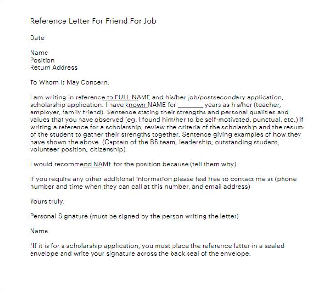 StandardReference Letter Template