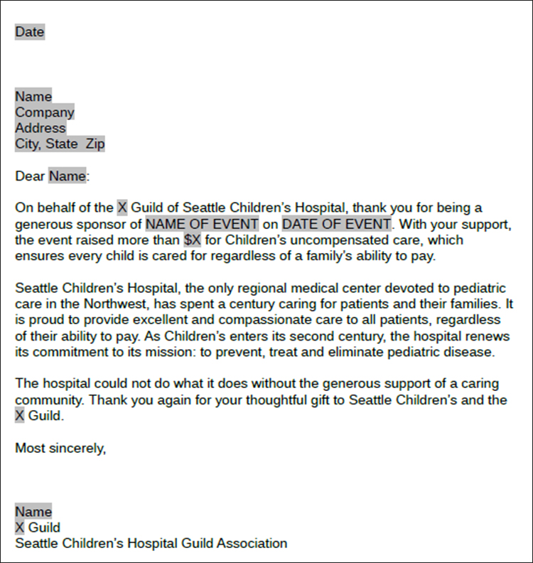 Thank You Letter Sponsorship
