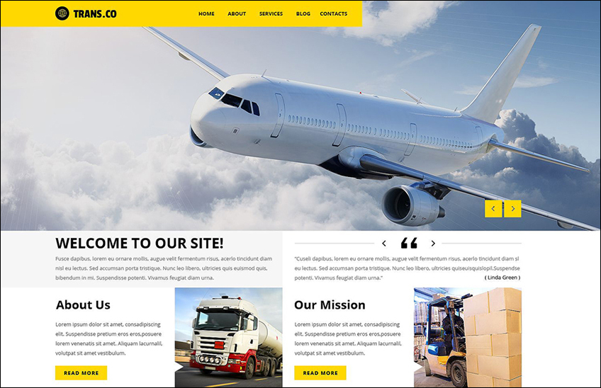 Transportation Editable WordPress Theme