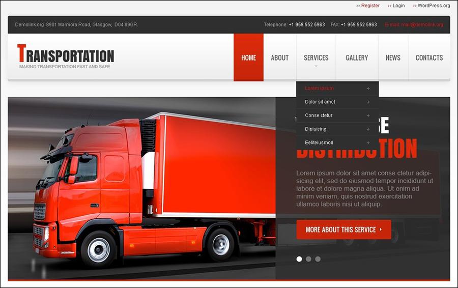 Transportation Responsive WordPress Theme