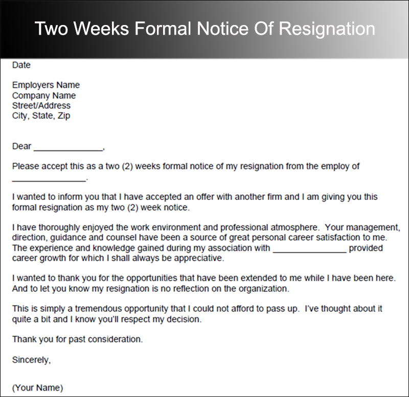 Two Weeks Formal Notice Of Resignation