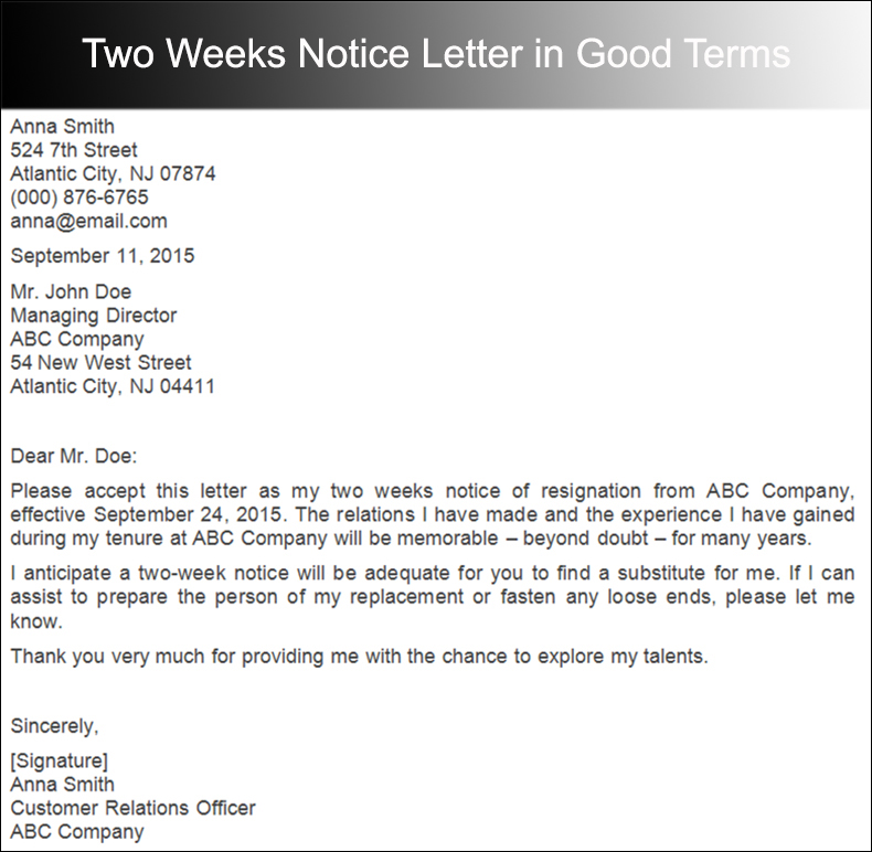 Two Weeks Notice Letter in Good Terms