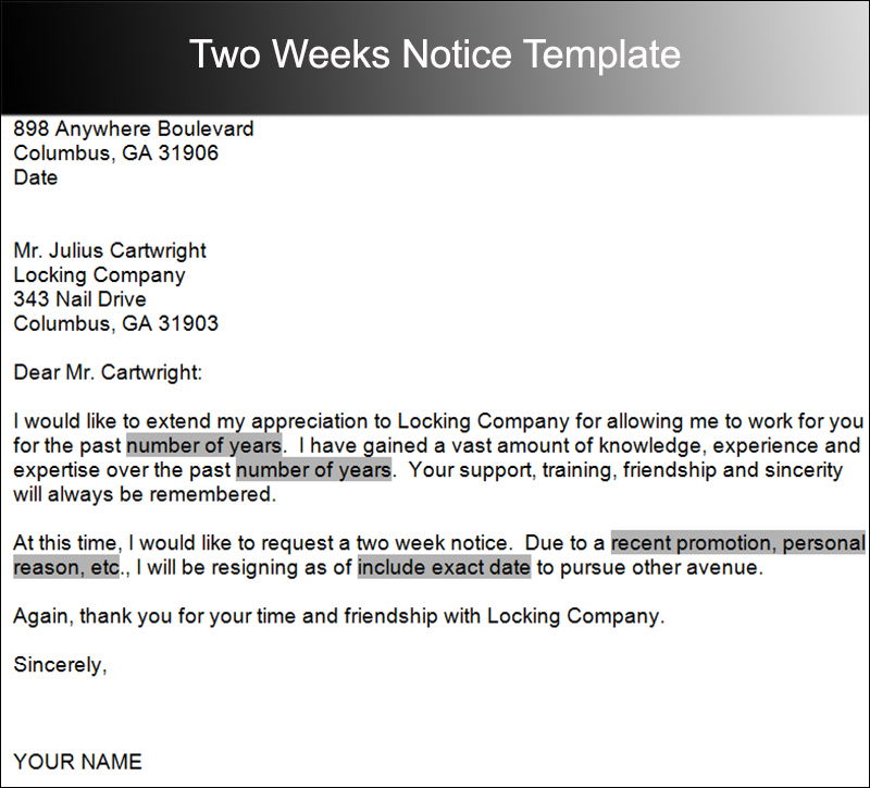 10 Sample Two Weeks Notice Letter Templates | Creative Designs