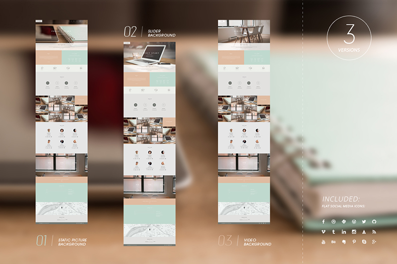 Video Background One Page Template HTML5 & CSS3
