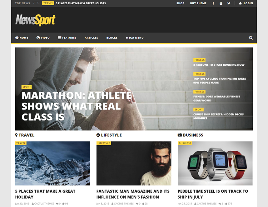 WP Sports Magazine Blogging Template
