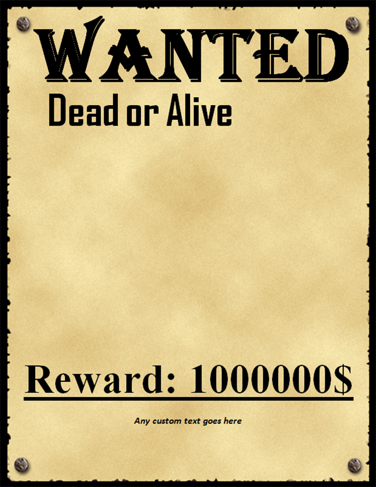 Perfect Wanted Poster Template Free Download ... In Most Wanted Sign Template