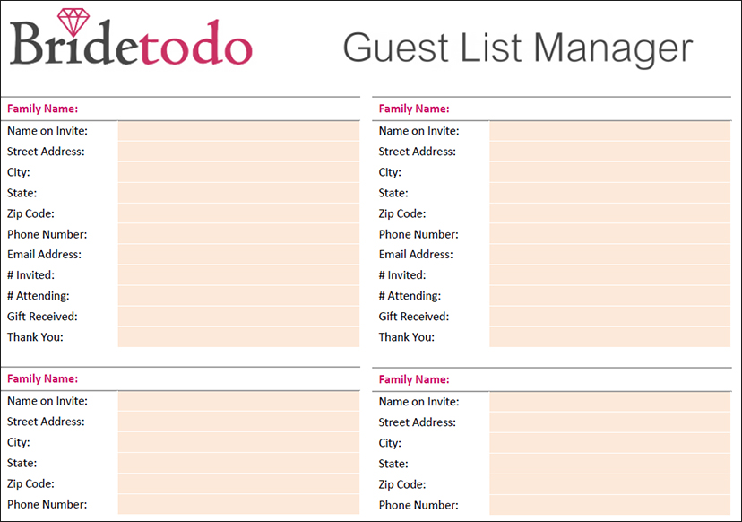 image regarding Free Printable Wedding Guest List called 7+ Marriage Visitor Record Template Free of charge Term, Excel, PDF Formats