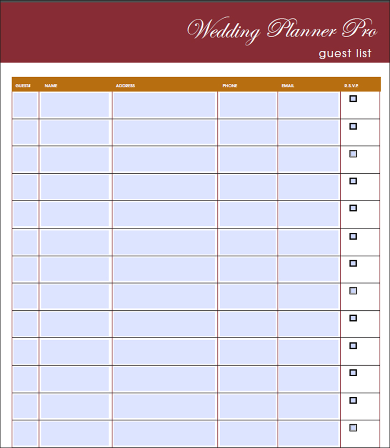 Wedding Guest List Template Free Word Excel PDF Format – Wedding Guest List Template Free