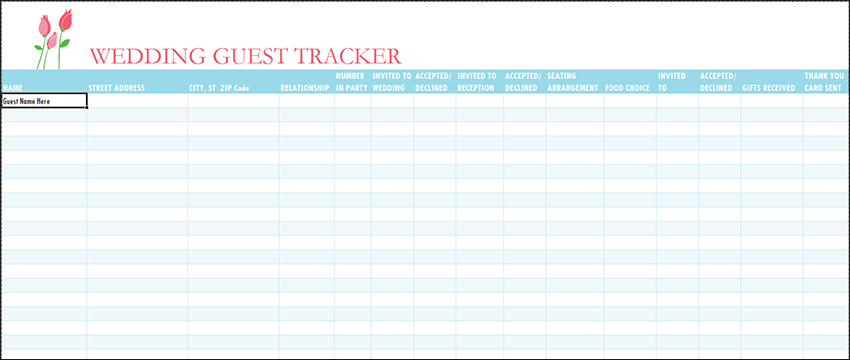 Wedding Guest List Template Free Word Excel Pdf Formats