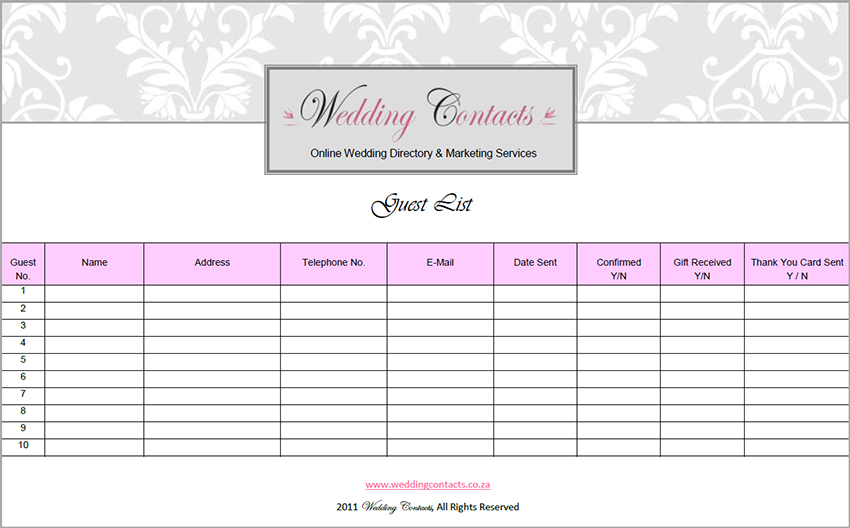 Wedding Gift Log Template : Wedding Guest List Template Printable