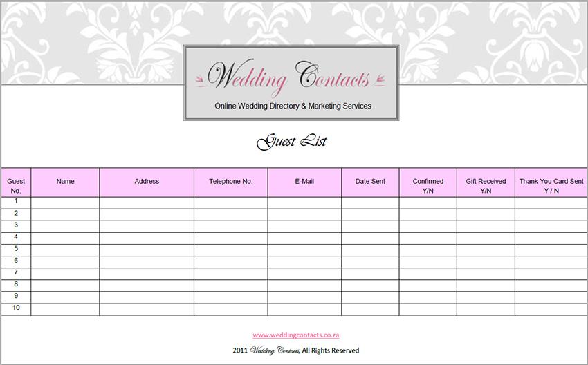Wedding Guest List Template PDF