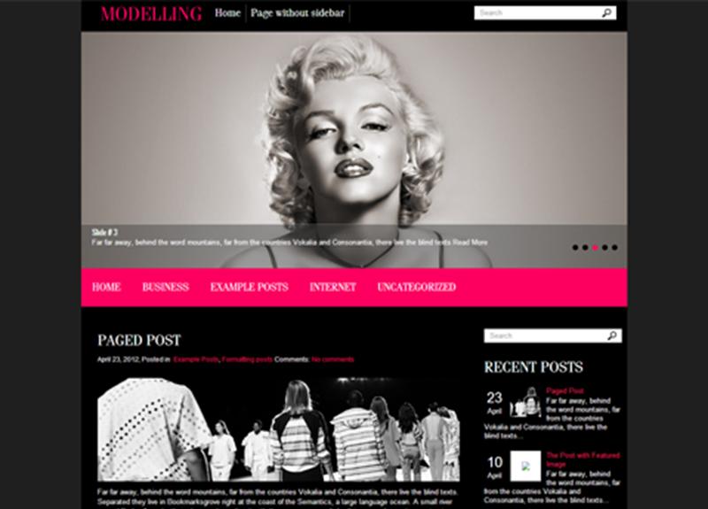 WordPress Theme For Modelling Website
