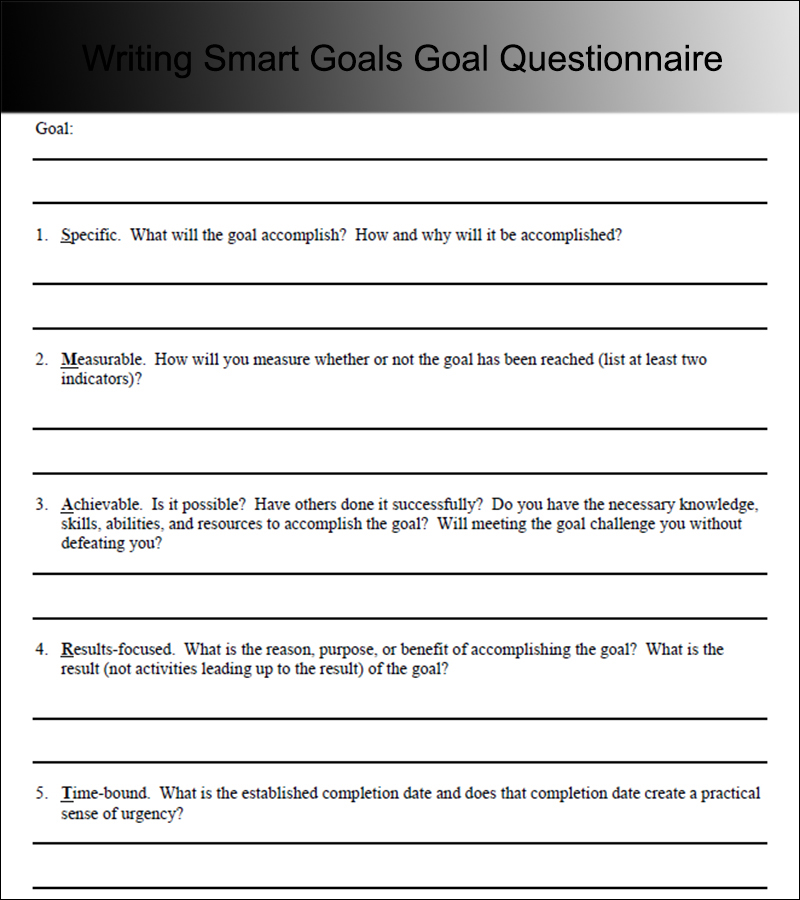 goals writing A simple guide to how smart goal setting works in order to reach your strategic objectives how to set specific, measurable goals that are attainable.