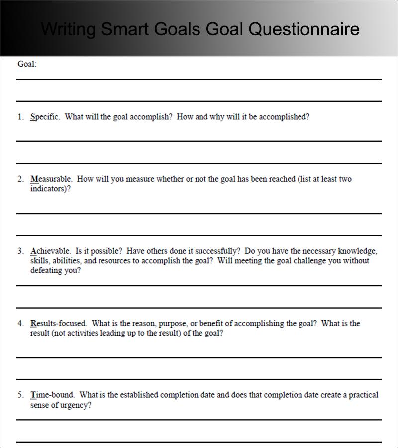 Writing Smart Goals Goal Questionnaire