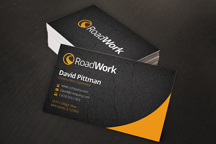 construction business cards psd