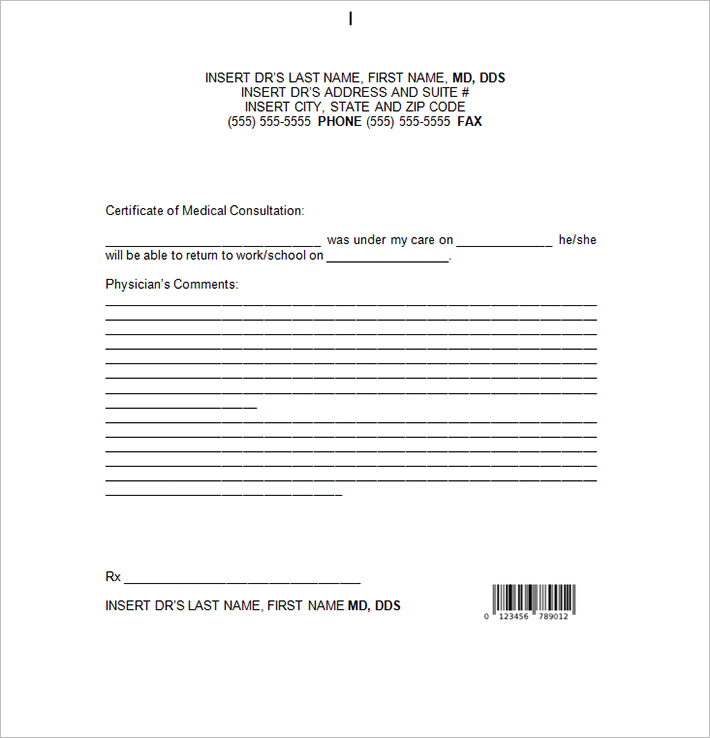 Doctor Note Templates  Free Sample Example Download