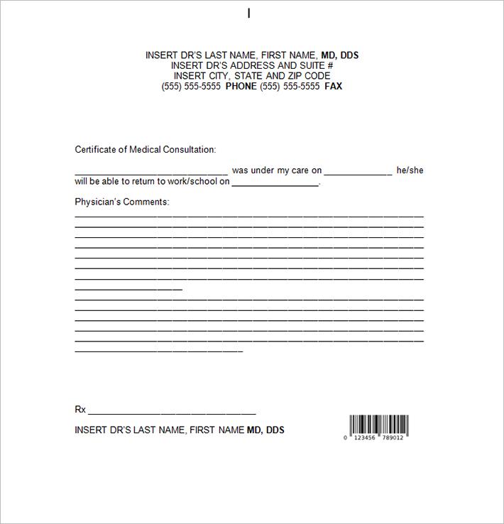 medical certificate proforma